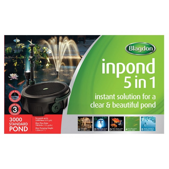 Blagdon inpond 5 in 1 3000 pond filter pump and uv for Pond filter kit