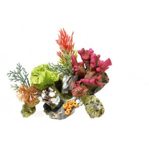 Classic Coral on Rocks with Plants Aquarium Ornament