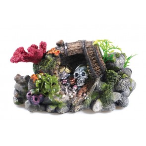 Classic Treasure Barrel & Skull Aquarium Ornament
