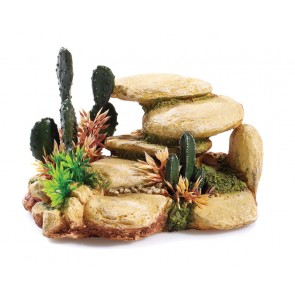 Classic White Stone with Cactus Aquarium Ornament