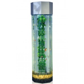 Octagon 4ft High Column Aquarium Wide Type in silver