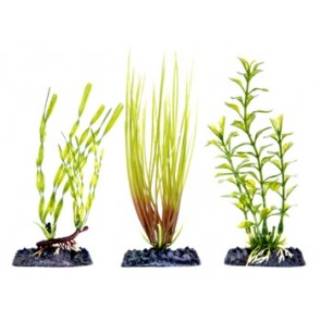 Penn Plax Green Multi Pack Artificial Plant with bases Small