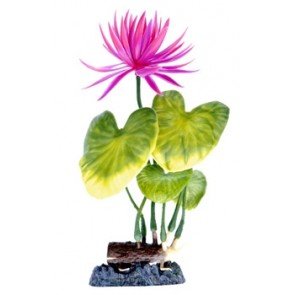 "Penn Plax Red Water Lily 8"" Artificial Plant with base"